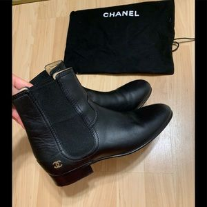 Chanel Chelsea Leather Boots Size 8/IT 38